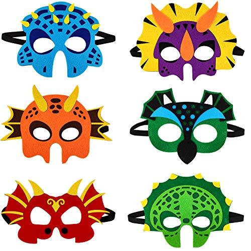 Ouinne 6 stuks dinosaurus maskers van vilt met elastisch touw voor kinderen verjaardag podiumoptredens thema feest