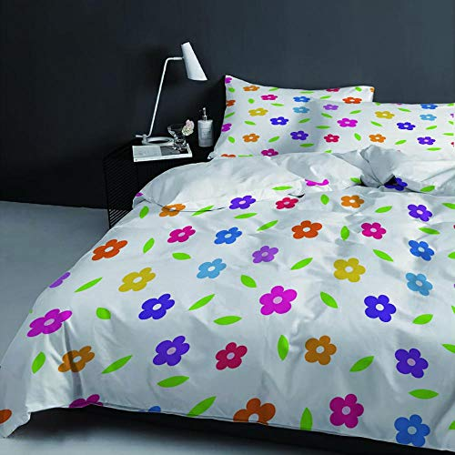 Juego de Funda nórdica para Cama 135x200cm patrón de Flores de Colores Juego de edredón con Impresión 3D Juego de Cama +2 Fundas de Almohada