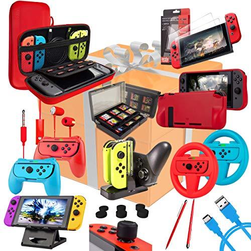 Kit Accesorios para Nintendo Switch – Orzly Geek Pack con: Funda y Protector de Pantalla Switch, Empuñaduras & Volante para mandos JoyCon, Una Base de Carga USB y Un Soporte portátil, y más [ColorPop]