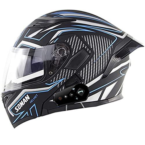 Casco De Motocicleta Bluetooth, Aprobado Por DOT/ECE, Visor Doble Antivaho, Bluetooth, Abatible Hacia Arriba, Casco De Locomotora De Motocicleta De Cara Completa Para Ciclomotor Gorra B,L