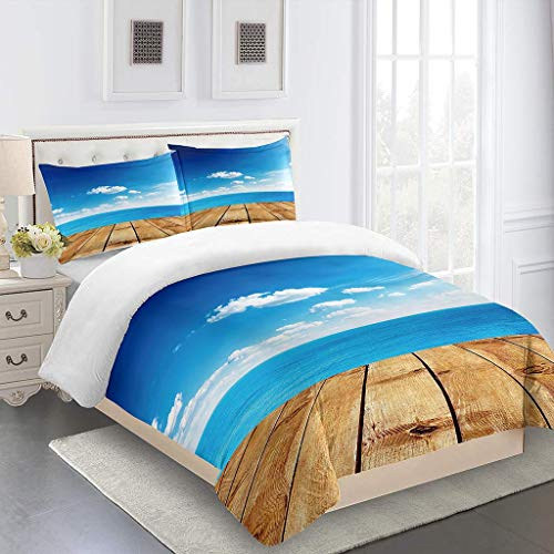 PKTMK Bedding Duvet Cover with 2 Pillowcases Printed Blue sky sea skyline Quilt Cover Set with Zipper Closure Anti-allergic Bedding For Kids adult Double 200x200cm