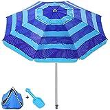 Sombrilla de Playa, Sombrilla Playa con Protección Solar UV50 +, Toma de Tierra Sombrilla de Soporte, Sombrilla Balcón Inclinable y Plegable, Adecuado para Balcón, Terraza, Playa - Azul