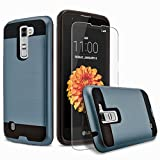 LG VOLT 2 Case, 2-Piece Style Hybrid Shockproof Hard Case Cover + Circle(TM) Stylus Touch Screen Pen And Screen Protector (Ink Blue)