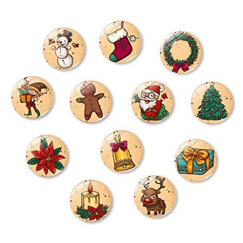 WTALL 12pcs 30MM imanes de Nevera de Navidad imanes de Nevera de Cristal para el hogar
