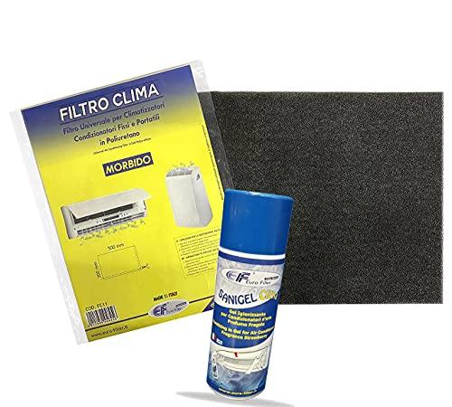 Filtro Universale per Climatizzatori Fissi e Portatili in Poliuretano, Dimensioni 500 x 300 x 5 mm + Spray Igienizzante Sanigel Clima 400 ml