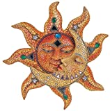 George S. Chen Imports Polyresin Orange Mosaic Face Sun with Yellow Mosaic Moon, 13""
