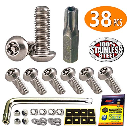 Self Tapping Number Plate Screws And Yellow Caps 100 Pieces FREE DELIVERY