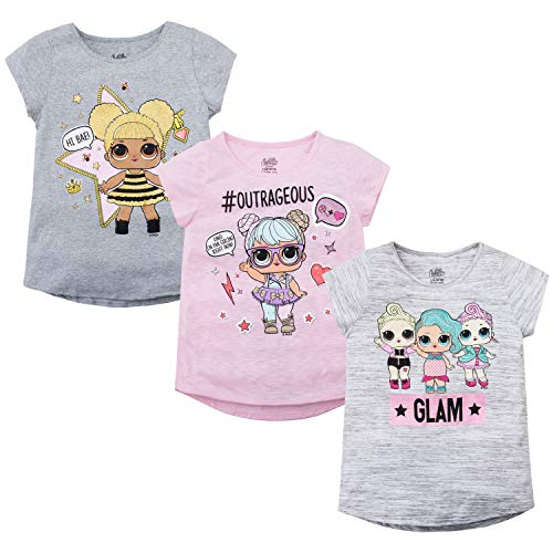 L.O.L Surprise! Girls T-Shirt Set - 3 Pack of LOL Surprise Tees - Lil Outrageous Littles T-Shirts (X-Small-4/5)