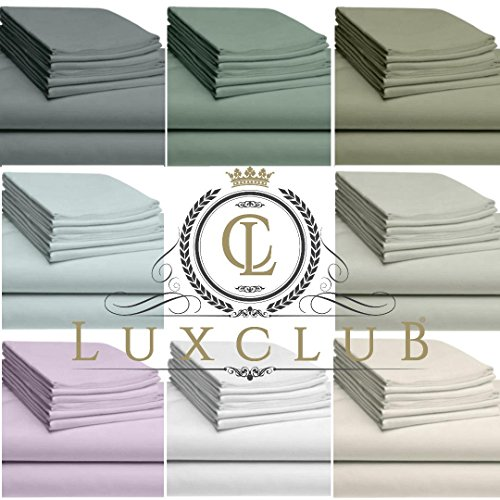 LuxClub 6 PC Sheet Set Bamboo Sheets Deep Pockets 18 Eco Friendly Wrinkle Free Sheets Hypoallergenic Anti-Bacteria Machine Washable Hotel Bedding Silky Soft - Dark Grey Queen