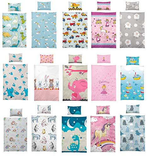 BaSaTex Kinder Bettwäsche, Babybettwäsche 100x135 cm + 40x60 cm 100% Microfaser in verschiedenen Designs, Einhorn