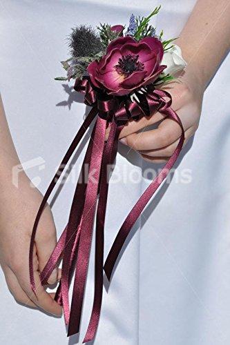 Silk Blooms Ltd Plum 'Real Touch' Anemone & Scottish Thistle Ribbon Flowergirl Wand
