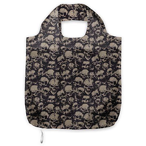 ABAKUHAUS Cráneo Bolsa Reutilizable Plegable para Compras, Mal asustadizo del grunge, de...