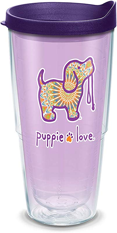Tervis 1311343 Puppie Love Boho Insulated Tumbler With Wrap And Royal Purple Lid 24oz Clear