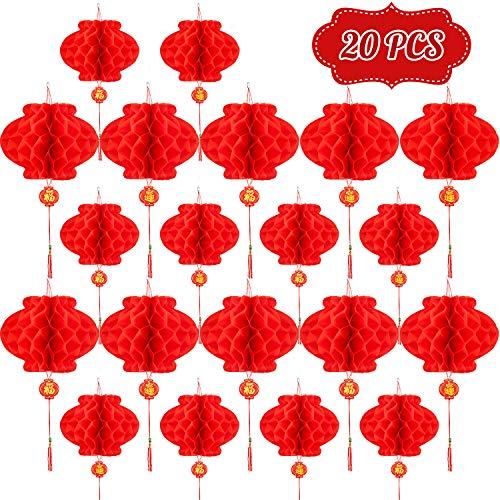 Whaline 30,5 cm und 25,4 cm rote chinesische Laternen, rote Papierlaternen zum Aufhängen Dekorationen für chinesisches Neujahrsfest, Frühlingsfest, Laterne Festival Feier Zubehör, 20 Stück