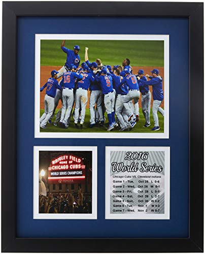 Frames by Mail Chicago Cubs 2016 World Series Collage Framed Photo, 11 x 14, Blue