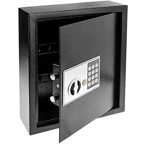 PrimeMatik - Armario de Llaves con 18 Ganchos. Caja Fuerte con código electrónico 30x10x37cm Negro