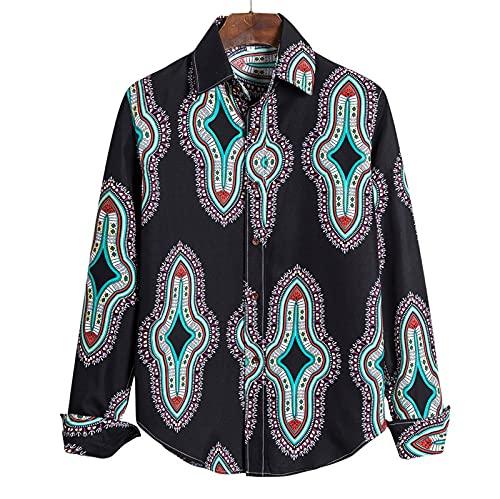 SSBZYES Camisas para Hombres Camisas de Manga Larga para Hombres Camisas de Talla Grande Camisas de Manga Larga de Moda para Discoteca de Talla Grande Camisas de Flores de Talla Grande Tops