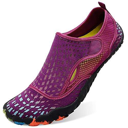 L-RUN Women Water Shoes Barefoot Beach Swim Shoes Flexible Purple Women 10, Men 8 M US