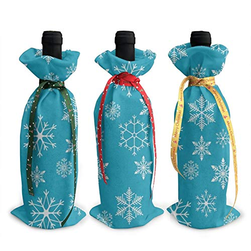 Christmas Wine Bottle Decoration Bag For New Year Wedding Wine Tasting Party Dinner Decor Holiday Ornaments 3pcs Wine Bottle Cover Bags,Xmas Gift Blue Christmas Snowflake