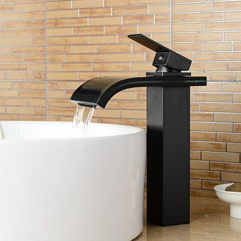 Bijjaladeva Wasserhahn Bad Wasserfall Mischbatterie Waschbecken Waschtisch Armatur für Badezimmer Retro - Kupfer Einzigen Griff Einzelne Bohrung Glas Waschtisch Armatur Wasserfall