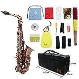 ammoon Profesional Red Bend Bronce Eb E-flat Alto saxofón Abulón Shell Dominante...