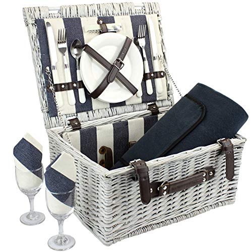 Home Innovation Picknick Korb für 2 mit wasserdichter Decke, Durable Wicker Picknick Hamper Set, Willow Picknick Basket Zubehör Platten und Utensils
