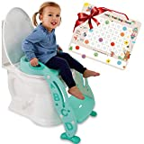 "Potty Training Seat Unisex Kids &Toddler Toilet - Foldable Adjustable Ladder Anti-Slip Step w/Safety Handles - Fits Toilets 14-16.1"" High. Bonuses: Soft Cushion Seat - Potty Training Chart"