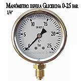 MANOMETRO esfera GLICERINA 0-25 Bar 1/4'. Utilizado en...