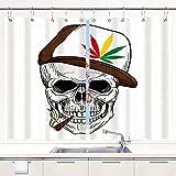 HATESAH Kitchen Curtains,Baseball Skull Smoking Weed Wearing Hat Rastaman Cannabis Addict,Short Cafe Curtains for Bathroom Window Treatment 2 Panels Sets Home Decor Drapes,55' Wx39 L