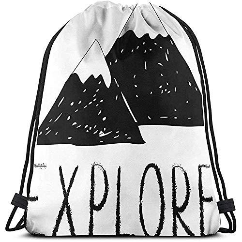 Dusk Fort Mochilas con Cordón Impresas Mochilas, Explore Letras con Bosque Salvaje Dibujado A Mano Montañas Simples Tema De La Naturaleza, Cierre De Cuerda Ajustable