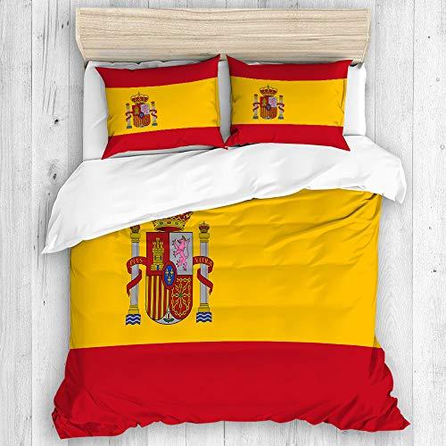 BEITUOLA Bedding Juego de Funda de Edredón,Bandera española roja de España Armas Dimensiones precisas Proporciones y Colores Amarillo Oficial,Funda de Nórdico y Fundas de Almohada - 140 x 200c