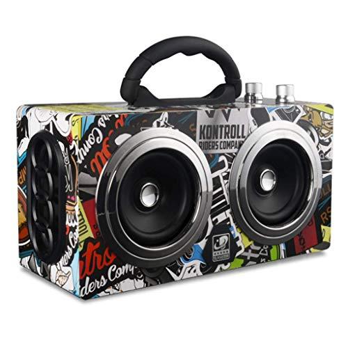 Xinxie 20W Drahtloser Lautsprecher Bluetooth Lautsprecher Bass Tragbarer Outdoor Stereo Subwoofer Radio Dual Drive Starker Bass Bluetooth Lautsprecher Wasserdichter Tragbarer Lautsprecher,Graffiti