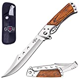 Grand Way Hunting Folding Knife with Rosewood Handle - Tactical EDC Pocket Knife - Foldable Long Blade Pocket Knife - Big Blade Folding Knife - Birthday Christmas Gifts for Men 4172 K
