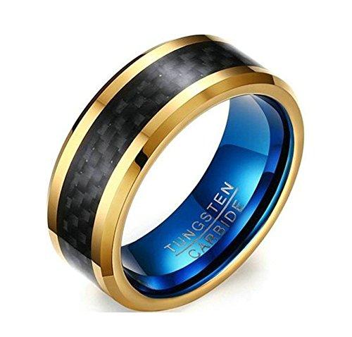 Jiedeng Schmuck Unisex Ringe aus Wolframcarbid Ring mit Einfacher Stil Partnerringe Verlobungsringe Ehering Trauringe für Damen-Ring, Herren-Ring Schwarz Gold Größe 67 (21.3)