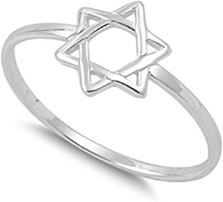 Star of David Religious Unique Ring New .925 Sterling Silver Band Sizes 2-13