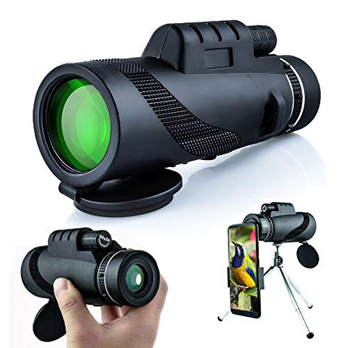 ODOMY Monoculars Telescope 40x60 HD Waterproof Shockproof Low Light Night Vision Goggles with Smart Phone Mount Adapter Tripod for Outdoor Bird Watching Hunting, Hiking Hight Observation