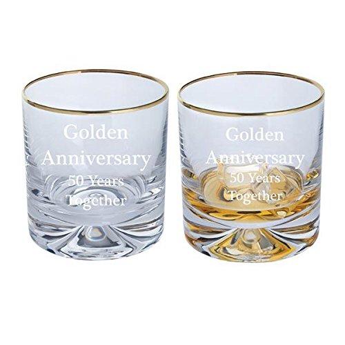 Dartington Golden Anniversary Paire Dimple Old Fashioned Verres à Whisky avec bord doré – 50 ans Ensemble