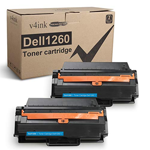 V4INK Compatible Toner Cartridge Replacement for Dell 1260 Dell 331-7328 for Use with Dell B1260dn B1260 B1265dn B1265dnf B1265dfw Series Printers (Black 2 Packs, New Version)