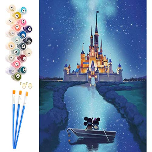 AICHUANGBAO Paint by Numbers Adults Children with Castle DIY Hand Painted Oil Painting Kits with Brush, Acrylic, High Quality, Wrinkle-Free Canvas 40 x 50 cm - Frameless