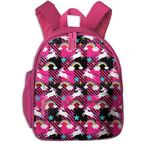 Kinderrucksack für Mädchen, Unicorn U0026 Rainbow Plaid_4083 - mariafaithgarcia, Für Kinderschulen Oxfordstoff (pink)