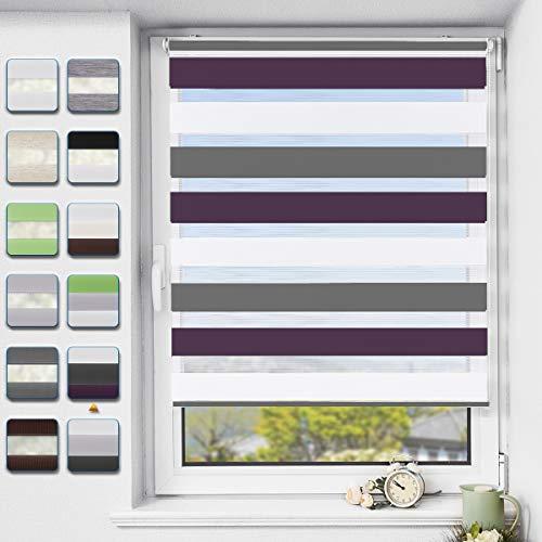 Buseu Doppelrollo klemmfix|Duo Rollo ohne Bohren|lichtdurchlässig und verdunkelnd Fensterollos| Weiß-anthrazit-aubergine 80x150cm(BxH)