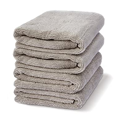 30  x 56  Zero-Twist Cotton Luxury Hotel & Spa Bath Towels Set ,Set of 4 (4, Taupe)