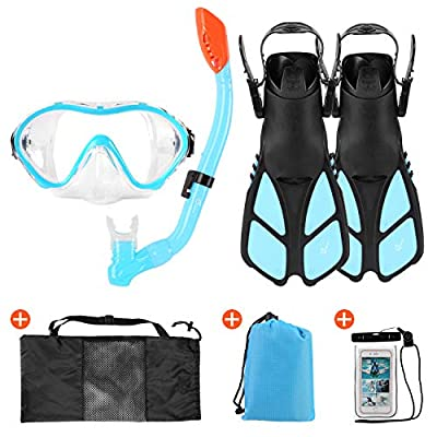 Odoland 6-in-1 Kids Snorkeling Packages Snorkel Set, Anti-Fog and Anti-Leak Full Face Snorkel Mask with Adjustable Swim Fins, Beach Blanket and Waterproof Case for Boys and Girls Age 9-15 Light Blue