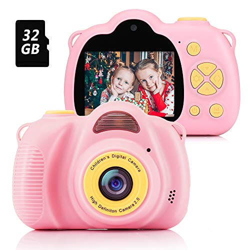 Fede Kids Camera Digital with 32GB TF Card, Rechargeable Selfie Camera, Digital Child Camcorder with 2.0 inches Screen, HD 8MP/1080P Dual Lens, Birthday Gifts for Boys and Girls(Pink)