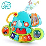 LUKAT Baby Musik Spielzeug, Elefant Musikspielzeug mit Licht & Ton Musikinstrumente für Kleinkinder 6 9 12 18 Monate Klavier Tastatur für Kinder 1 2 Jahre Jungen und Mädchen