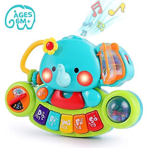 LUKAT Baby Musik Spielzeug für 6 9 12 18 Monate Kleinkinder, Elefant Musikspielzeug mit Licht & Ton Musikinstrumente Klavier Tastatur Babyspielzeug für Kinder 1 2 Jahre Jungen und Mädchen