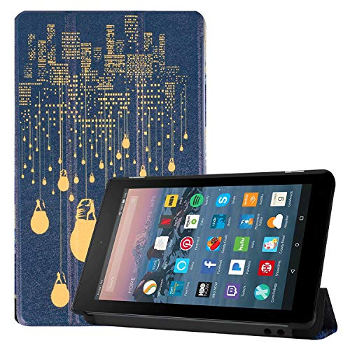 Maomi for Amazon Kindle Fire 7 case 2019/2017 Release 9th/7th Generation - PU Leather Cover with Auto Wake/Sleep (City Night)