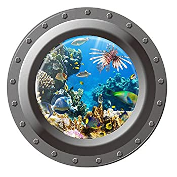 DNVEN 17 inches x 17 inches Peel and Stick Window View Under Sea Tropical Fishes 3D Ocean Window Clings Wall Art Decals Decors Removable Undersea World Stickers