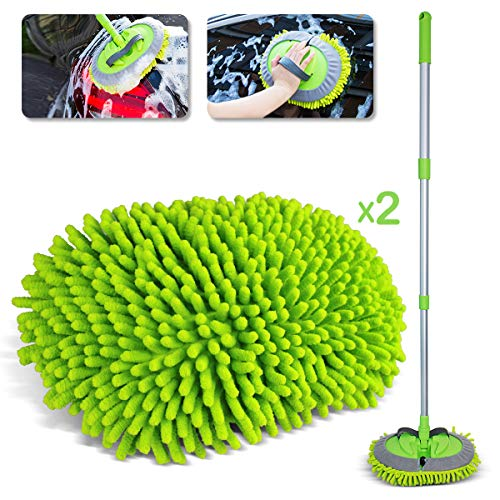 "2 in 1 Chenille Microfiber Car Wash Brush Kits Mop with 45"" Long Handle (Aluminum Alloy), Extendable Car Cleaning Kit Brush Duster, Scratch Free Cleaning Tool for Washing Truck, Car, RV (Green)"