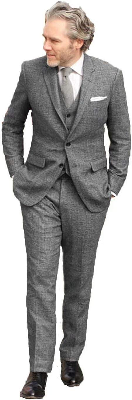 Wehilion Tweed Herringbone Suits Men Slim Fit 3 Pieces Suit Groom Wedding Suits Tux Vest & Trousers